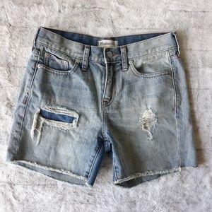 Madewell| Rip & Repair Distressed Jean Shorts